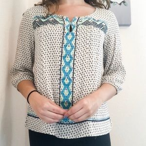 Skies Are Blue White Embroidered Blouse